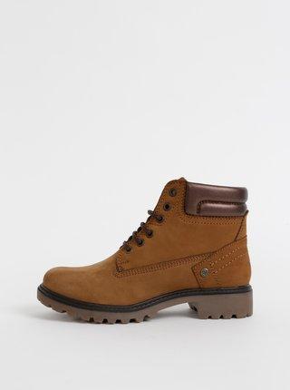 Hnedé dámske semišové členkové topánky Wrangler