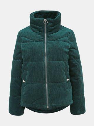Tmavě zelená manšestrová prošívaná zimní bunda VERO MODA Levine