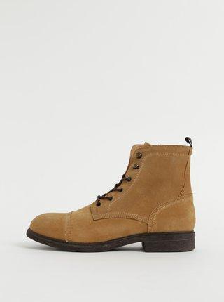 Hnědé semišové zimní kotníkové boty Selected Homme Terrel