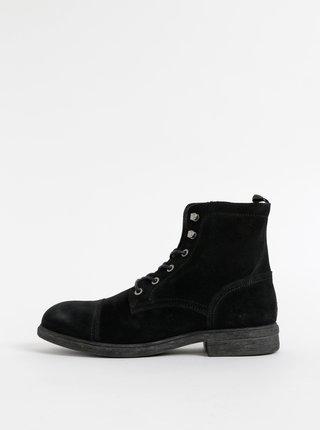 Čierne semišové zimné členkové topánky Selected Homme Terrel