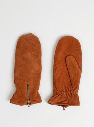 Hnědé kožené palčáky ONLY Mille