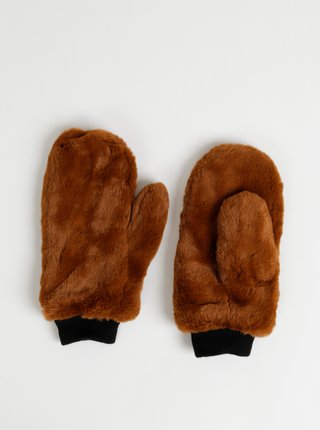 Hnedé palčáky z umelej kožušiny ONLY Furry
