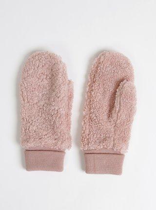 Rúžové palčáky z umelej kožušiny ONLY Teddy