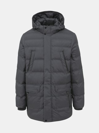 Tmavě šedá pánská voděodpudivá zimní bunda Geox Hilstone