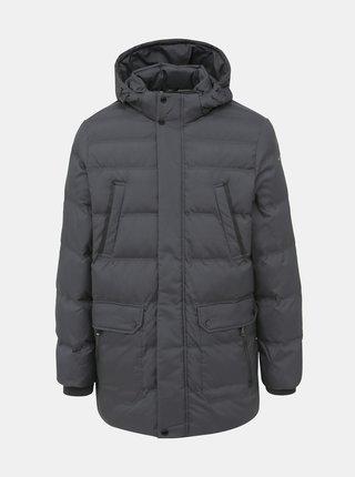 Tmavošedá pánska vodeodpudivá zimná bunda Geox Hilstone