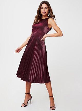 Vínové midišaty s plisovanou sukní Little Mistress
