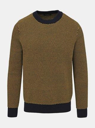 Žltý vzorovaný vlnený sveter Selected Homme Herring
