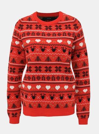 Červený svetr s vánočním motivem VERO MODA Heart