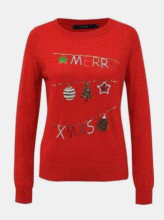 Červený svetr s vánočním motivem VERO MODA Merry