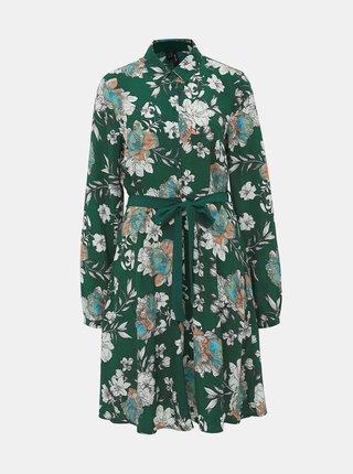 Zelené květované košilové šaty VERO MODA Maise
