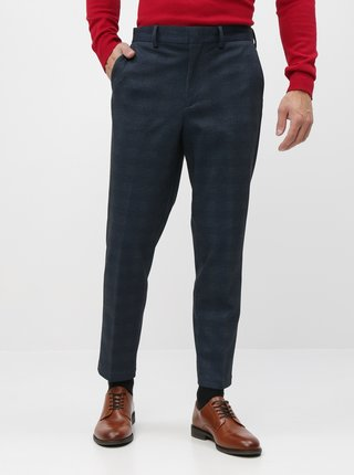 Tmavě modré zkrácené slim fit kahoty Selected Homme New Jersey