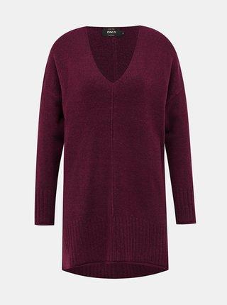 Vínový predĺžený sveter ONLY Clean