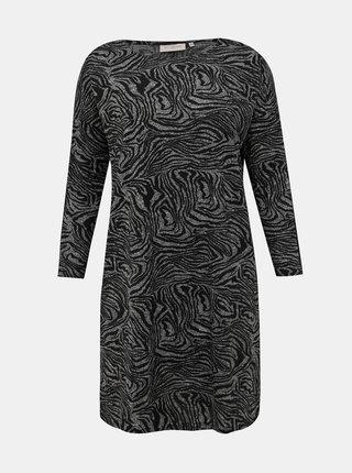 Černo-šedé šaty se zebrovaným vzorem a lampasem ONLY CARMAKOMA Alba