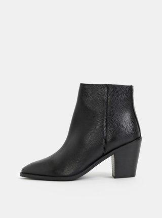 Čierne kožené členkové topánky Dorothy Perkins