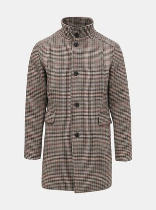 Béžový vzorovaný vlnený kabát Selected Homme Mosto