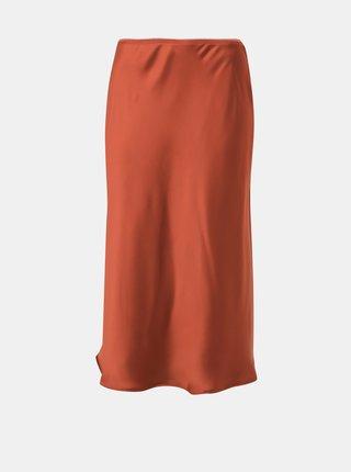 Hnedá saténová midi sukňa Jacqueline de Yong Perfect