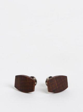 Tmavohnedé drevené manžetové gombíky BeWooden