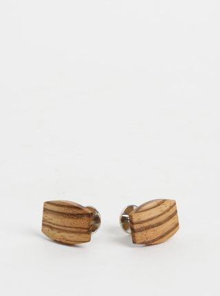 Hnedé drevené manžetové gombíky BeWooden