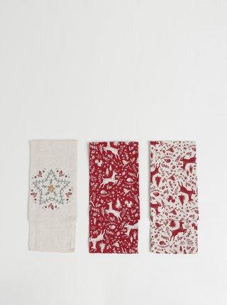 Sada troch utierok v krémovej a červenej farbe s vianočným motívom Cooksmart