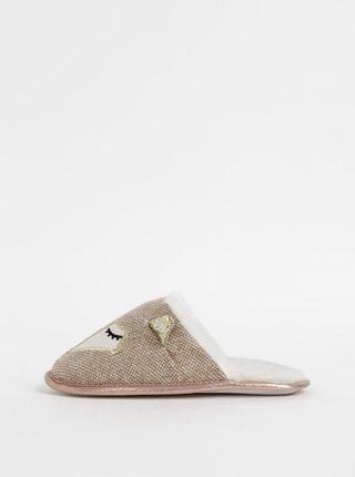 Svetlohnedé papuče s motívom líšky Something Special