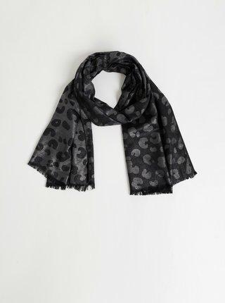 Šátek v černé a stříbrné barvě s leopardím vzorem Something Special
