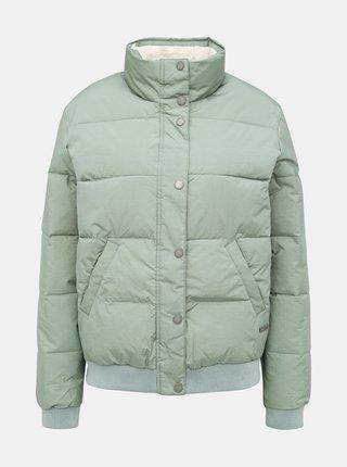 Světle zelená prošívaná nepromokavá zimní bunda Roxy Start Believing