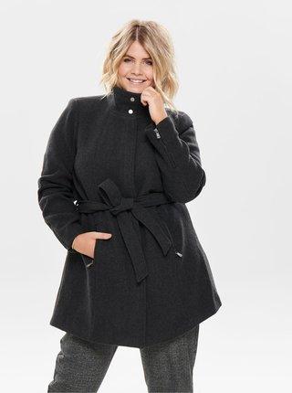 Tmavě šedý kabát s příměsí vlny ONLY CARMAKOMA Christie