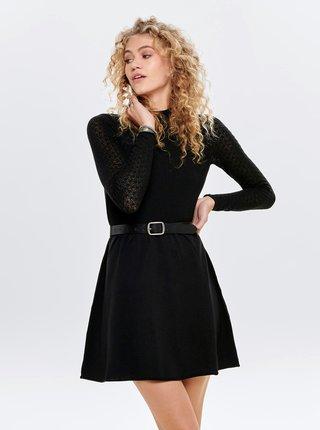 Čierne svetrové šaty s krajkovými rukávmi ONLY Jess