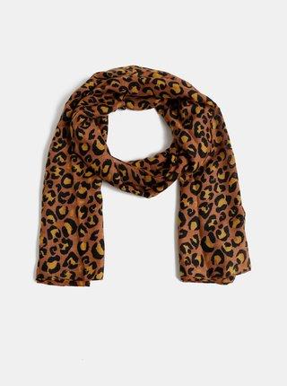 Hnědý šátek s leopardím vzorem Pieces Vonjana