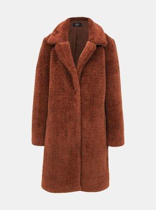 Hnedý kabát z umelej kožušiny ONLY Tinka