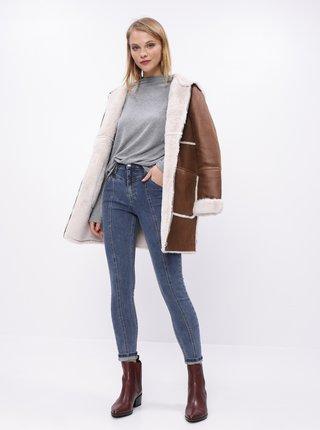 Hnědý kabát s vnitřním umělým kožíškem VILA Elba