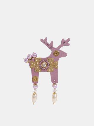 Starorůžová velká brož s kamínky Preciosa Components Deers Gudrun