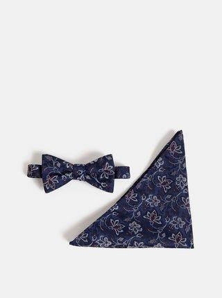 Tmavě modrý květovaný motýlek s kapesníčkem Selected Homme Martin