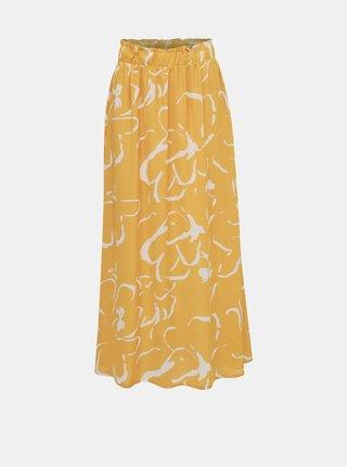 Žlutá vzorovaná maxi sukně VERO MODA Ilona