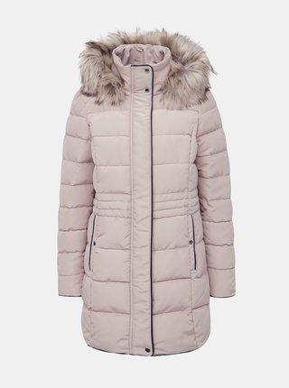 Béžový zimní kabát s umělým kožíškem VERO MODA Viennamy