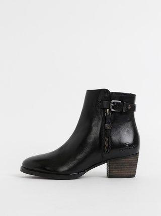 Čierne dámske kožené členkové topánky Tom Tailor