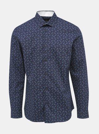 Tmavomodrá vzorovaná slim fit košeľa Selected Homme New Mark