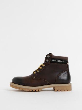 Tmavohnedé kožené členkové topánky Jack & Jones Statton