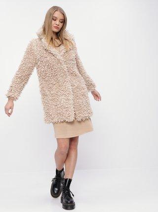 Svetlohnedý kabát z umelej kožušiny M&Co