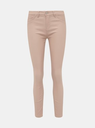 Svetloružové dámske koženkové skinny fit nohavice Haily´s