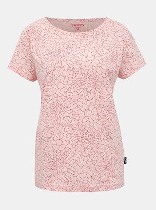 Svetloružové dámske kvetované tričko SAM 73