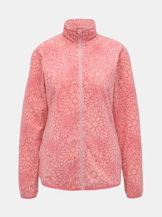 Rúžová dámska fleecová kvetovaná mikina SAM 73