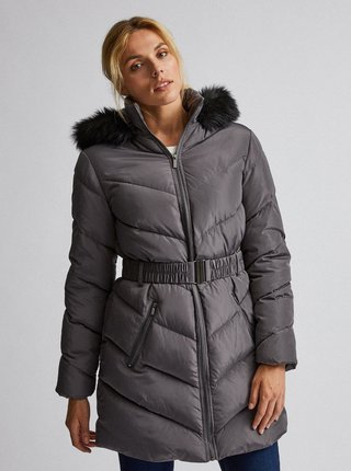 Šedý prešívaný zimný kabát Dorothy Perkins