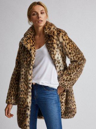Svetlohnedý kabát z umelej kožušiny s gepardím vzorom Dorothy Perkins
