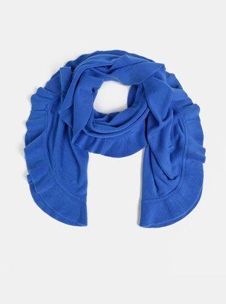 Tmavě modrá dámská šála s volánem Blue Seven