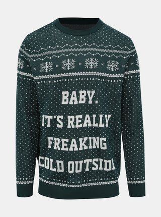 Tmavě zelený svetr s vánočním motivem Jack & Jones Jingle