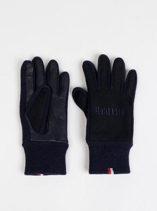 Tmavomodré pánske vlnené rukavice Tommy Hilfiger