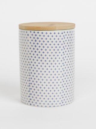 Modro-krémová vzorovaná keramická dóza Tranquillo Home Svenja