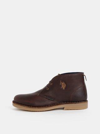 Tmavohnedé pánske kožené členkové topánky U.S. Polo Assn. Amadeus