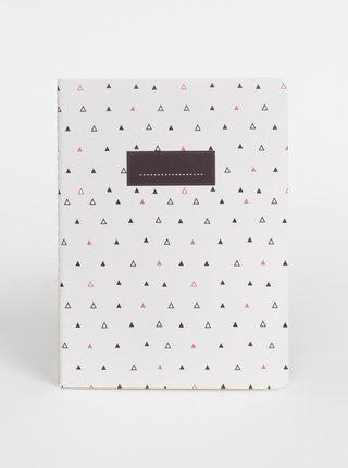 Bílý vzorovaný zápisník Tranquillo Triangle